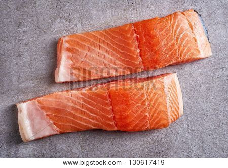 Two Fresh Raw Red Salmon Fillets