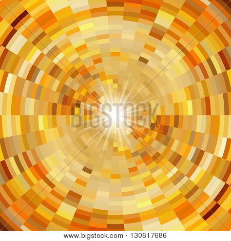 Abstract mosaic background in warm colors and flash of light in centre
