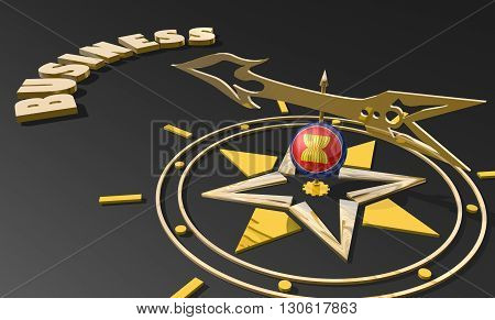 Red arrow of a compass pointing to the word business. 3D Rendering. ASEAN business metaphor