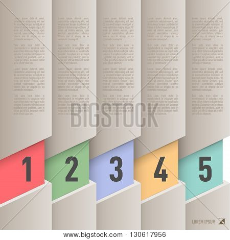 Infographics in old paper style with colorful numbered items from one to five