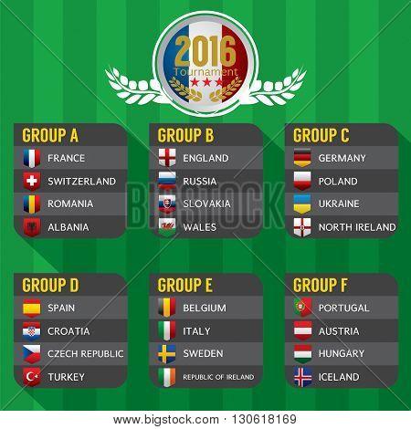 2016 European Football Tournament Vector Illustration. EPS 10