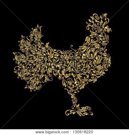 Floral gold pattern of vines in the shape of a on a black background