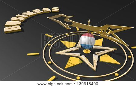 Red arrow of a compass pointing to the word business. 3D Rendering. Luxembourg business metaphor