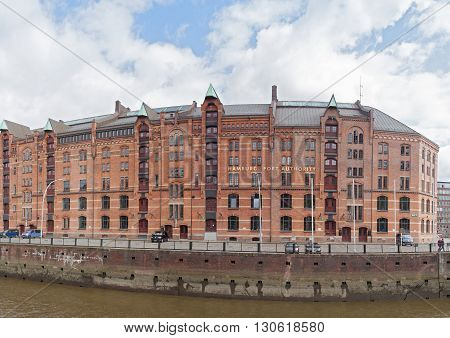 HAMBURG, GERMANY - MAY 16, 2016: Speicherstadt district, City of Warehouses in Hamburg, Germany