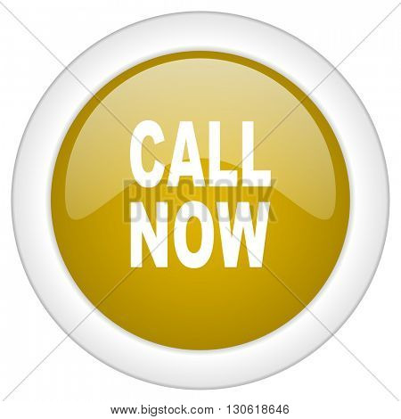 call now icon, golden round glossy button, web and mobile app design illustration