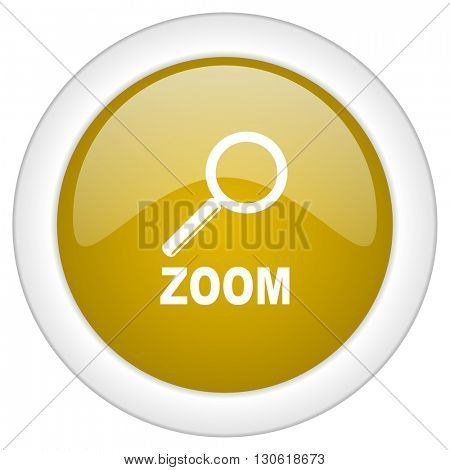 zoom icon, golden round glossy button, web and mobile app design illustration