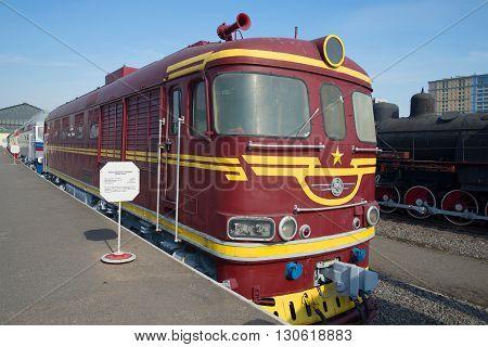 SAINT PETERSBURG, RUSSIA - MARCH 30, 2016: Vintage passenger diesel locomotive TEP-60 on the railroad. Historic landmark
