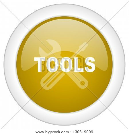tools icon, golden round glossy button, web and mobile app design illustration