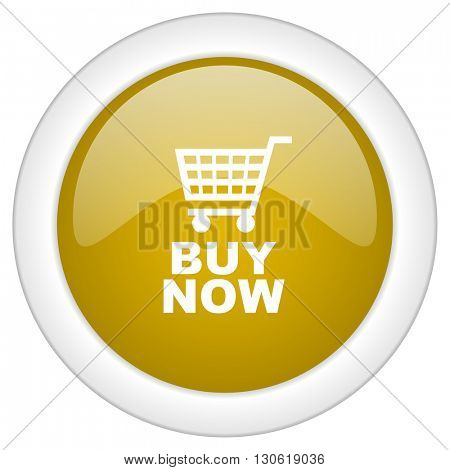 buy now icon, golden round glossy button, web and mobile app design illustration