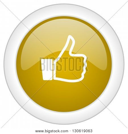 like icon, golden round glossy button, web and mobile app design illustration