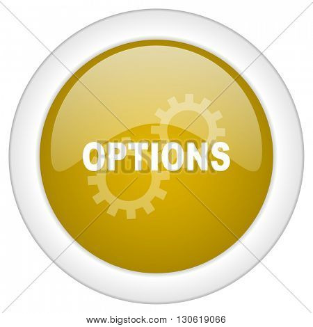 options icon, golden round glossy button, web and mobile app design illustration