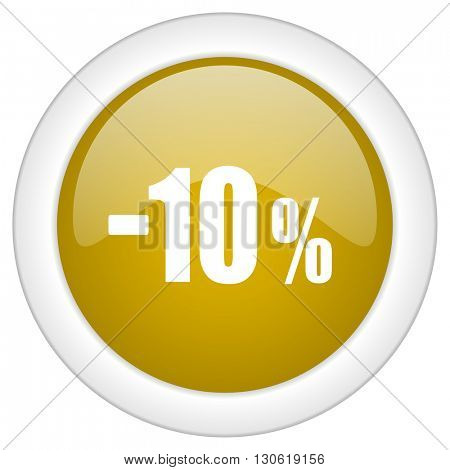 10 percent sale retail icon, golden round glossy button, web and mobile app design illustration