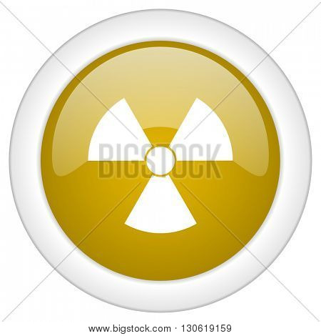 radiation icon, golden round glossy button, web and mobile app design illustration
