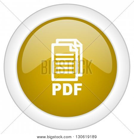 pdf icon, golden round glossy button, web and mobile app design illustration,