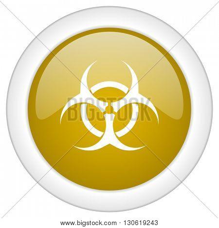 biohazard icon, golden round glossy button, web and mobile app design illustration