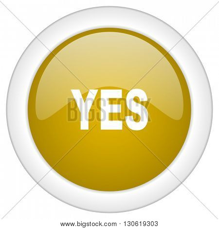 yes icon, golden round glossy button, web and mobile app design illustration