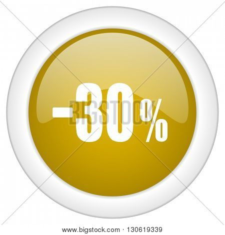 30 percent sale retail icon, golden round glossy button, web and mobile app design illustration