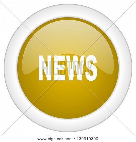 news icon, golden round glossy button, web and mobile app design illustration