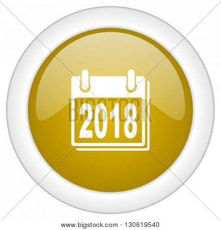 new year 2018 icon, golden round glossy button, web and mobile app design illustration