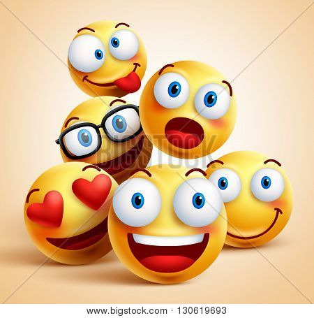 Smiley faces group of vector emoticon characters with funny facial expressions. 3D realistic vector illustration