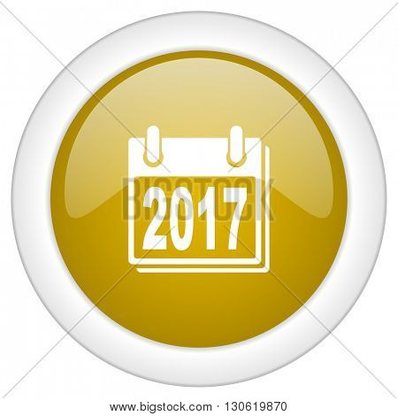 new year 2017 icon, golden round glossy button, web and mobile app design illustration