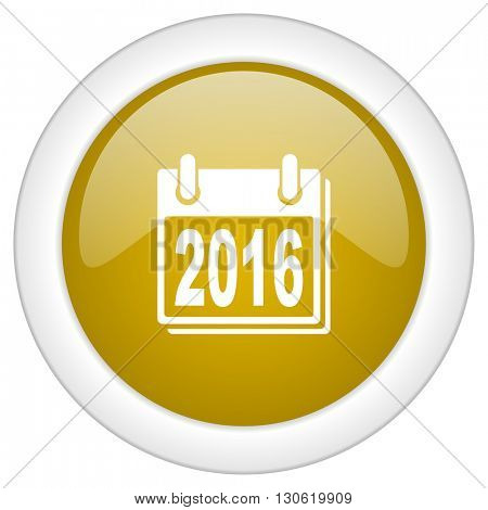 new year 2016 icon, golden round glossy button, web and mobile app design illustration