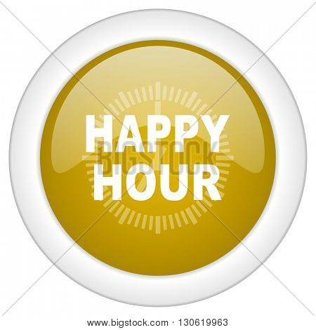 happy hour icon, golden round glossy button, web and mobile app design illustration