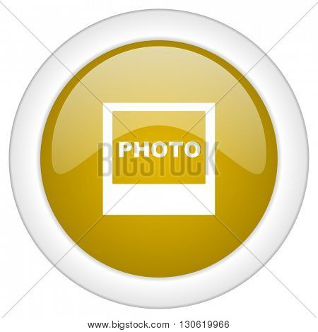 photo icon, golden round glossy button, web and mobile app design illustration