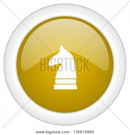 chess horse icon, golden round glossy button, web and mobile app design illustration