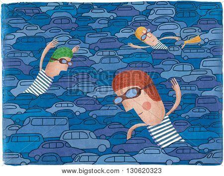 Traffic jam on the road. Creative illustration. Man swimming between cars.