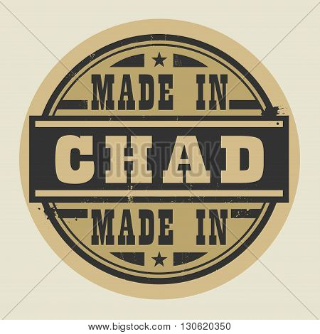Abstract stamp or label with text Made in Chad, vector illustration