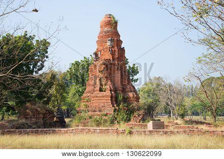 The medieval ruins of Wat Phong. Ayuthaya, Thailand. Historical landmark