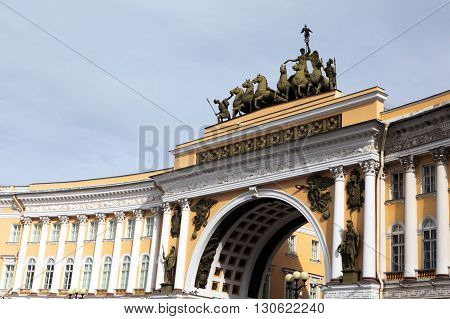 Triumphal Arch at the Hermitage. One of the symbols of St. Petersburg. Russia.