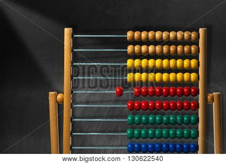 Detail of a wooden and colorful abacus on a black chalkboard