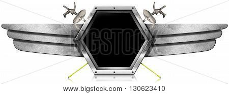 3d Illustration of a hexagonal metallic symbol with copy space two fencing foils and metal wings. Isolated on white background