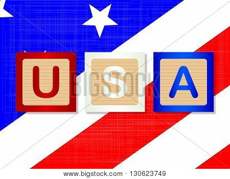 A collection of wooden block letters spelling USA over a Stars and Stripes background