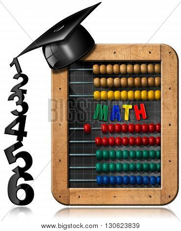 3D illustration of a chalkboard with wooden frame colorful abacus text Math and a graduation hat with black numbers. Isolated on white background
