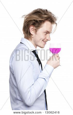 Young Man Drink Pink Wine.