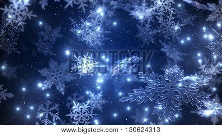 Natural Christmas Snowflakes With A Snowfall