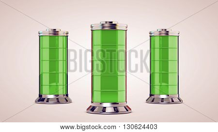 Three glass battery are charged. Isolated. White background.