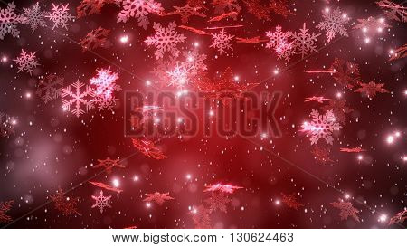 Snowfall With A Beutiful Snowflakes. Christmas Background