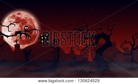 Bat Silhouettes With A Moonlight Behind - Halloween Background
