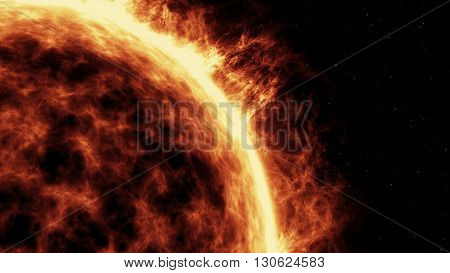 Sun surface with solar flares with a black background. Abstraction. Closeup