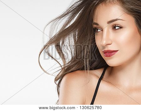 Beautiful Woman Red Lips Fly Hair Portrait