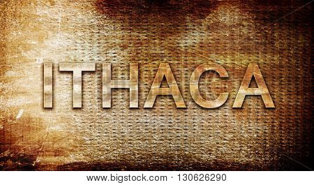 ithaca, 3D rendering, text on a metal background