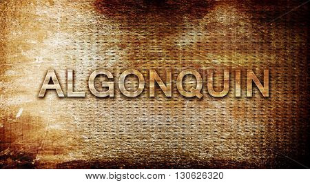 algonquin, 3D rendering, text on a metal background