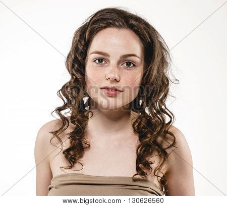 Beautiful Woman Curly Hair Portrait Freckles Face