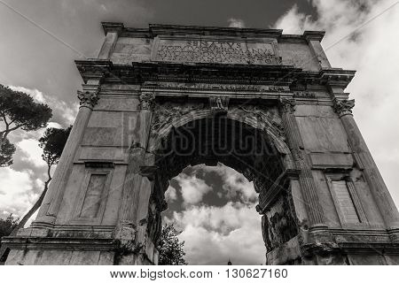 ROME - January 13: View of the Roman Forum from.Arch in Rome on January 13 2016 in Rome Italy.