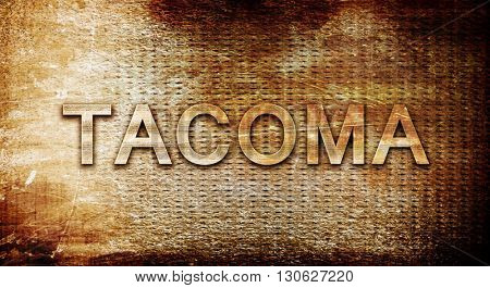 tacoma, 3D rendering, text on a metal background