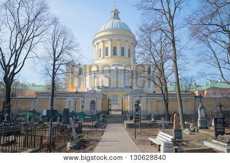 SAINT PETERSBURG, RUSSIA - MARCH 30, 2016: View of Trinity Cathedral spring day. Nikolskoe cemetery of Alexander Nevsky Lavra. Religious landmark of the city Saint Petersburg